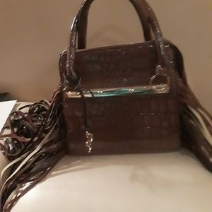 Brown purse with fringes